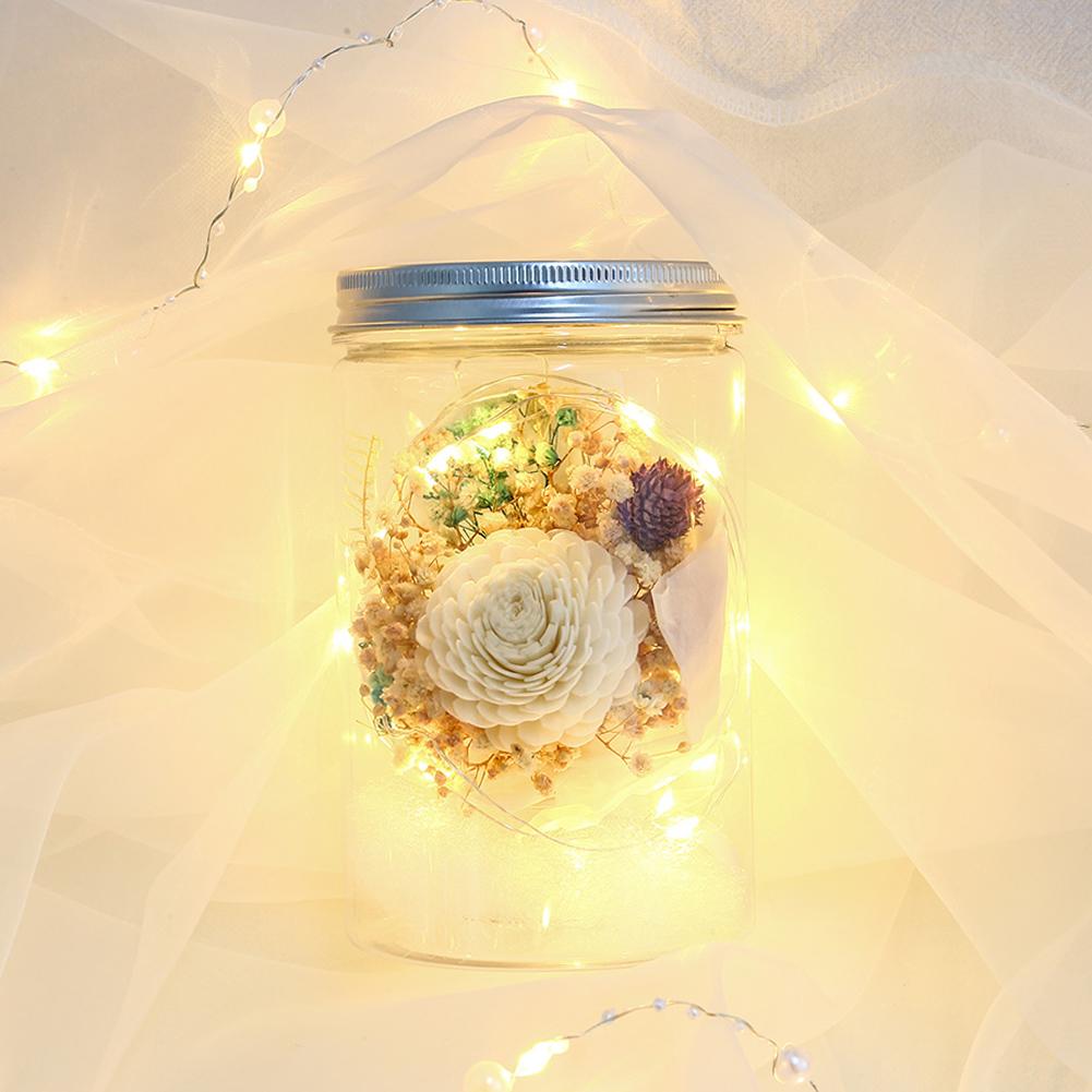 Künstliche Rose Ewige Leben Blumen LED Nachtlicht Heim Deko für Valentinstag