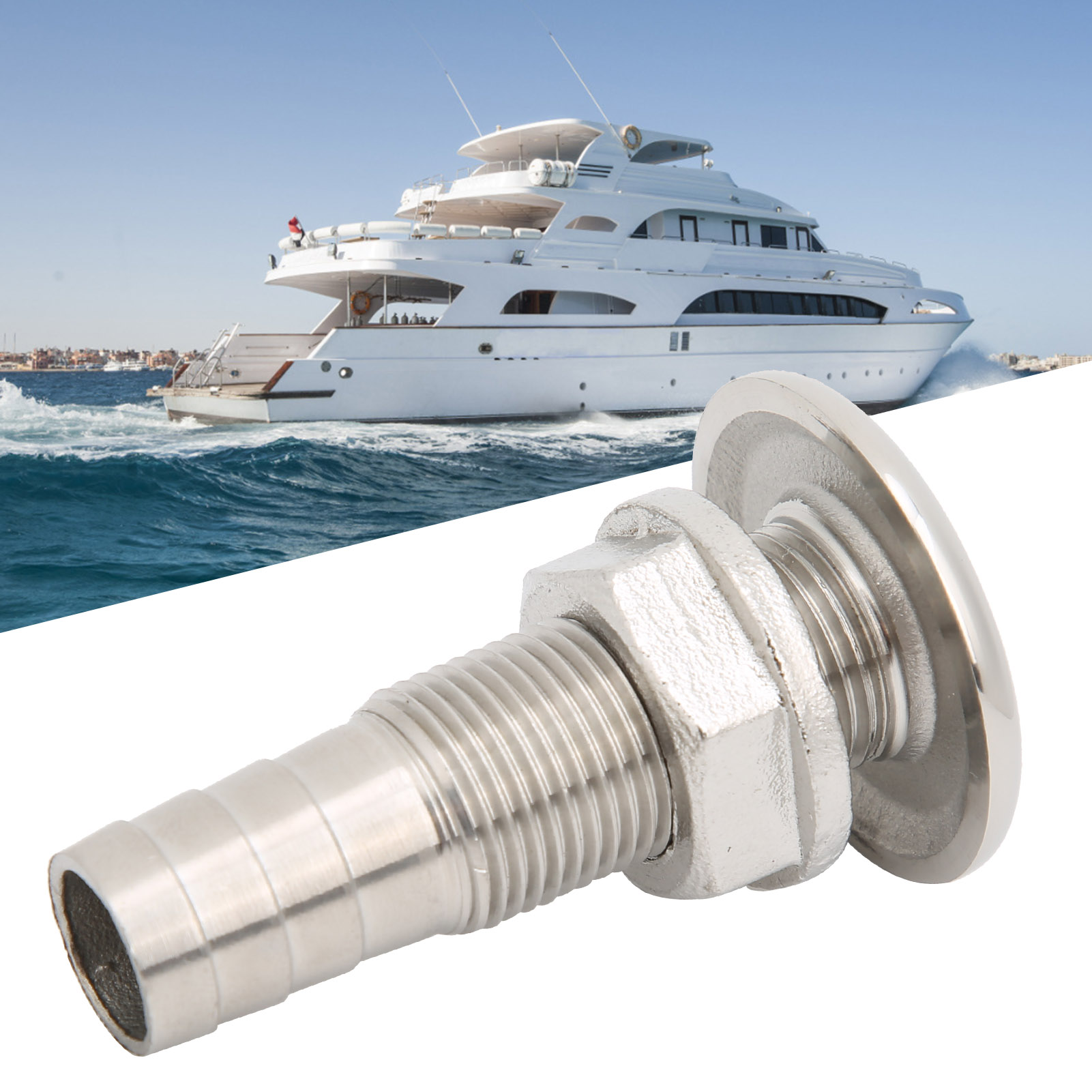 Outdoor Stainless Steel Water Outlet Port Boat Body Bottom Yacht Drain Vent Accs