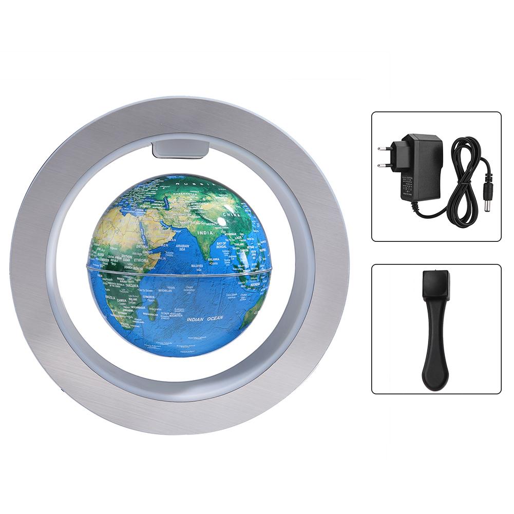 """4//6/"""" Round O Shape Magnetic Levitation Floating Globe World Map w//LED Light Blue"""