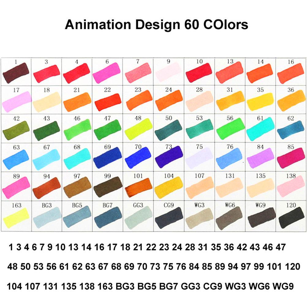 Marker Pen 60//80//168 Color Dibujo Pintura Rotulador Base de Alcohol Con Bolsa