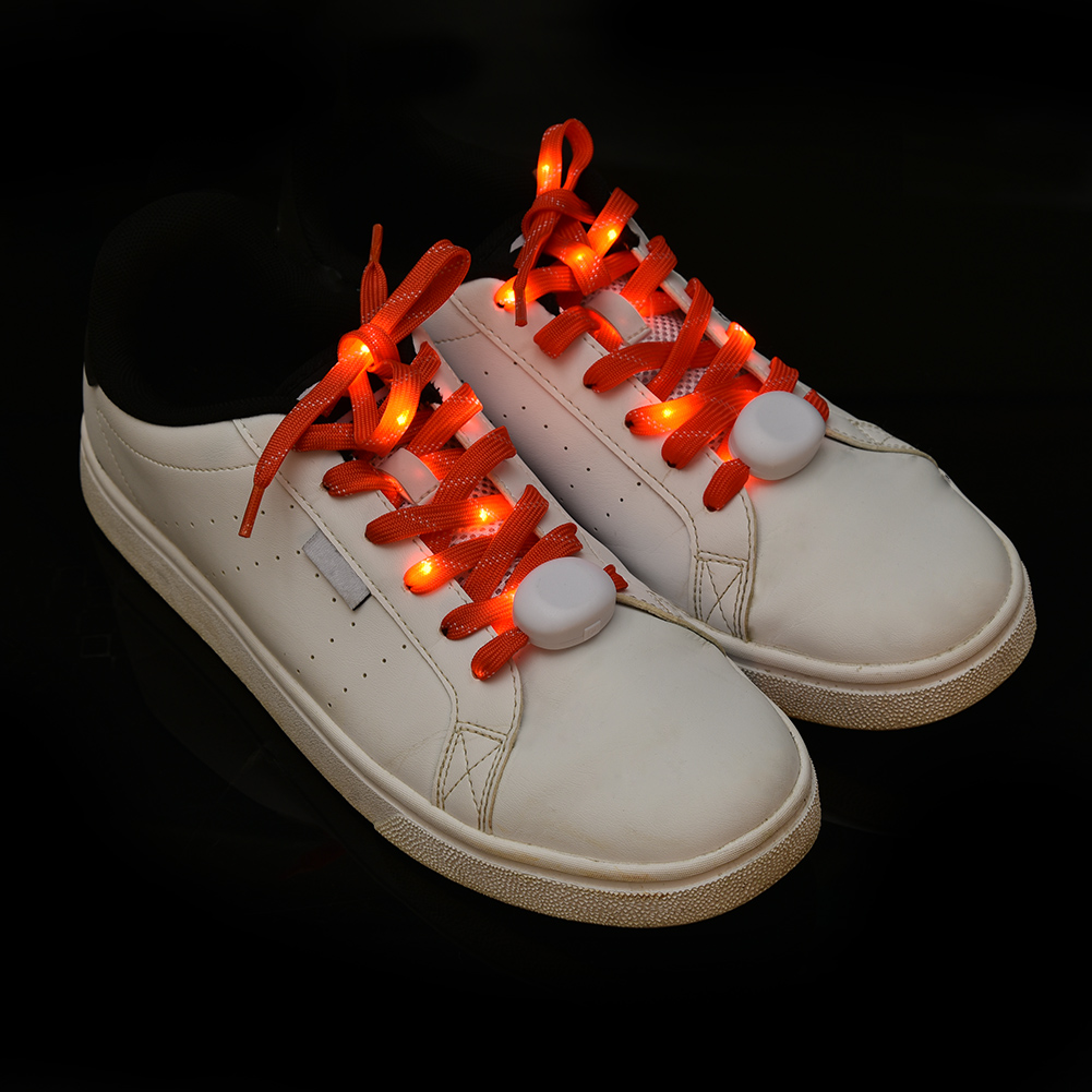 Fashion LED Shoe Laces Flash Light Up Colors Glow Nylon Strap Flashing Shoelace