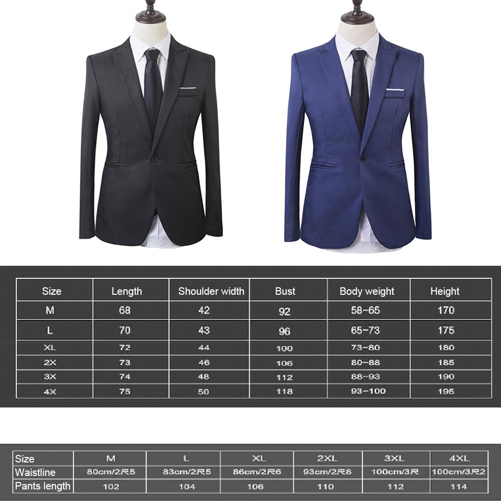 High Quality 2pcs Men/'s Solid Color Formal Wear Business Jacket Pants Suit Sets