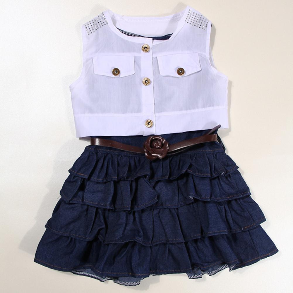 Kids Girls Summer Retro Denim Dress Sleeveless Skirt Mini Jacket+Belt 3Pcs Set
