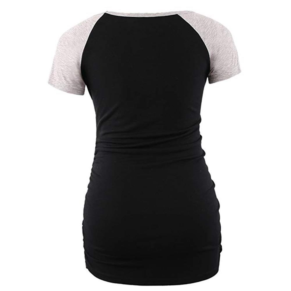 Women Pregnant Short Sleeve T-Shirt Maternity Clothes Blouse Contrast Color