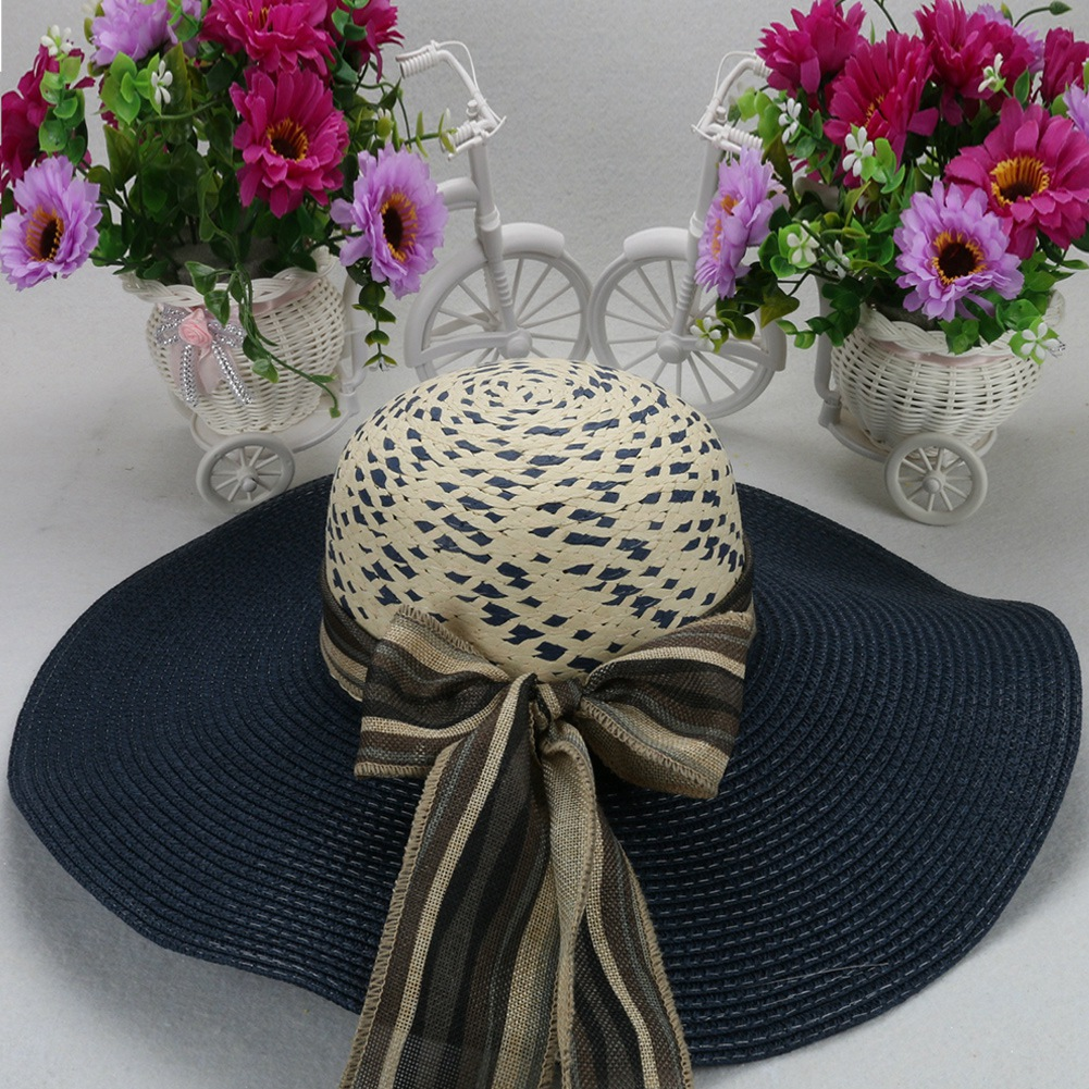 Vintage Women Summer Straw Sunhat Very Wide Brim Striaed Broad Riband Bow Hats