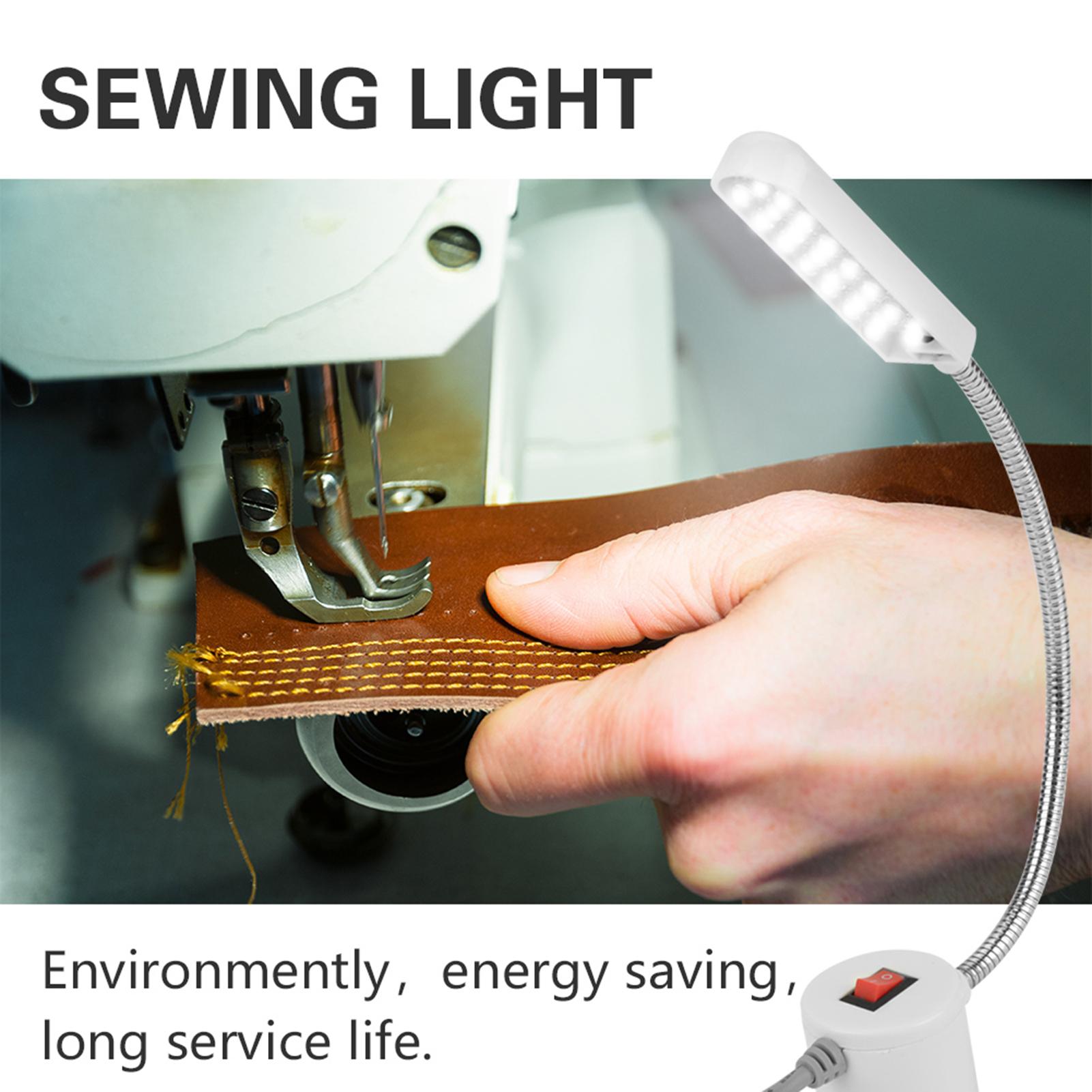 Flexible 10//19//20 DEL Lumière Lampe machine à coudre Base Magnétique Commutateur 110V-220V