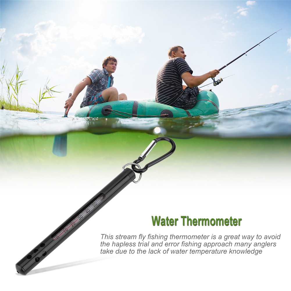 Outdoor Metal Fly Fishing Water Stream Thermometer Sea Fishing Tackle Accessory