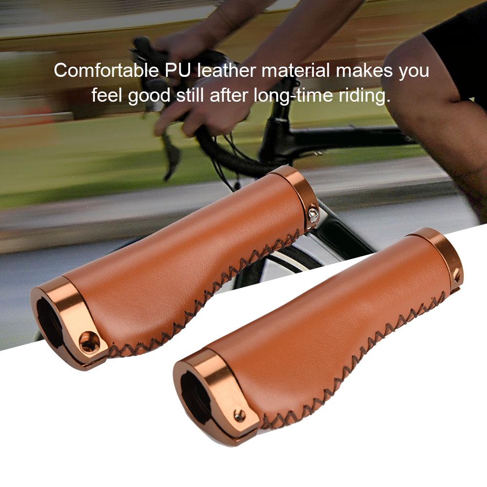 1 Pair PU Leather Bike Bar Grip Bicycle Handlebar Grips Lockable Lock-On Ends ES