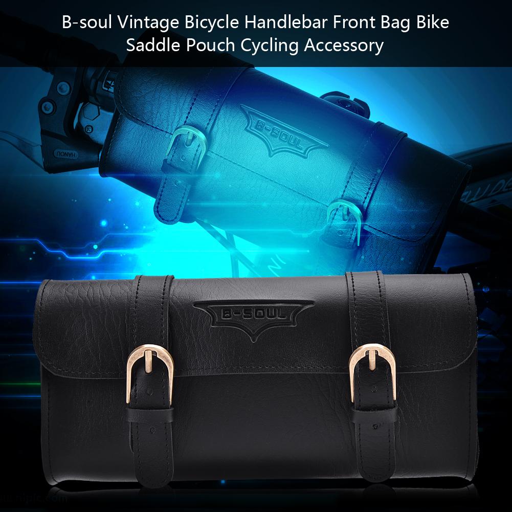 B-SOUL Retro PU Leather Bicycle Bike Front Frame Handlebar Bag Saddle Pouch BT