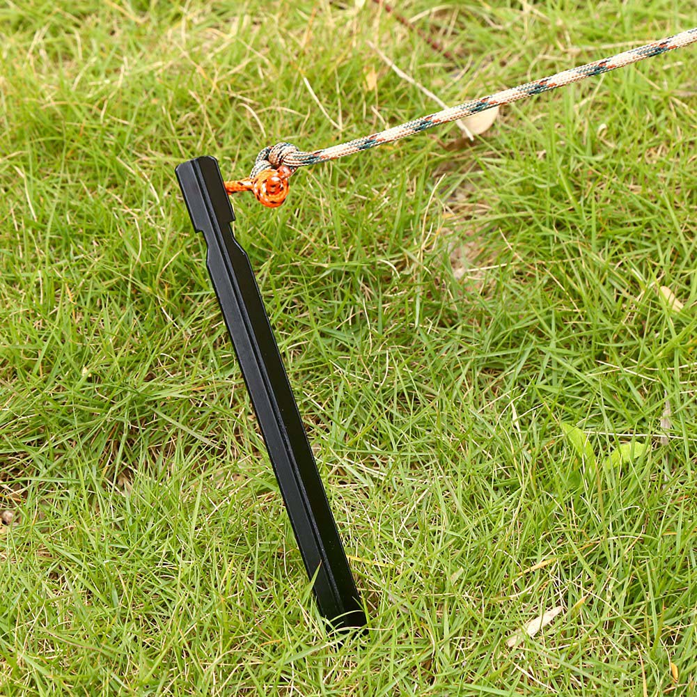 4PCS//Pack Portable 18CM Camping Tent Peg Nail Stakes With Rope Aluminium Alloy