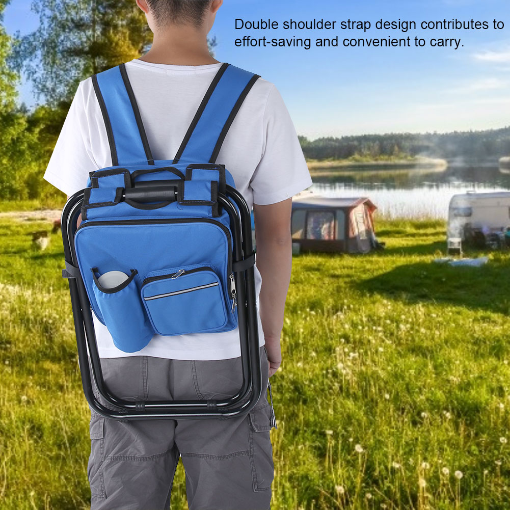 Folding Stool Insulated Cooler Bag Backpack Chair Fishing Camping Hiking Picnic