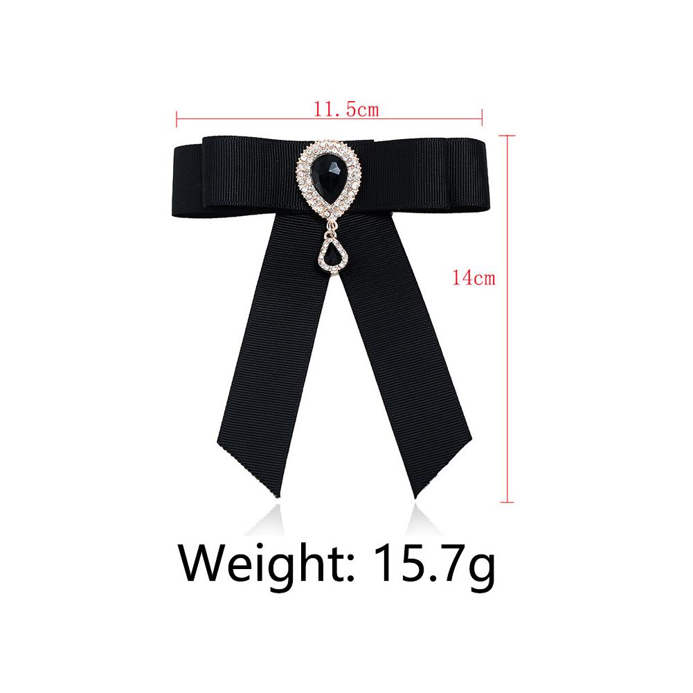 Fashionable Women Vintage Ribbon Bowknot Brooch Pin Necktie Dress Collar Bow Tie