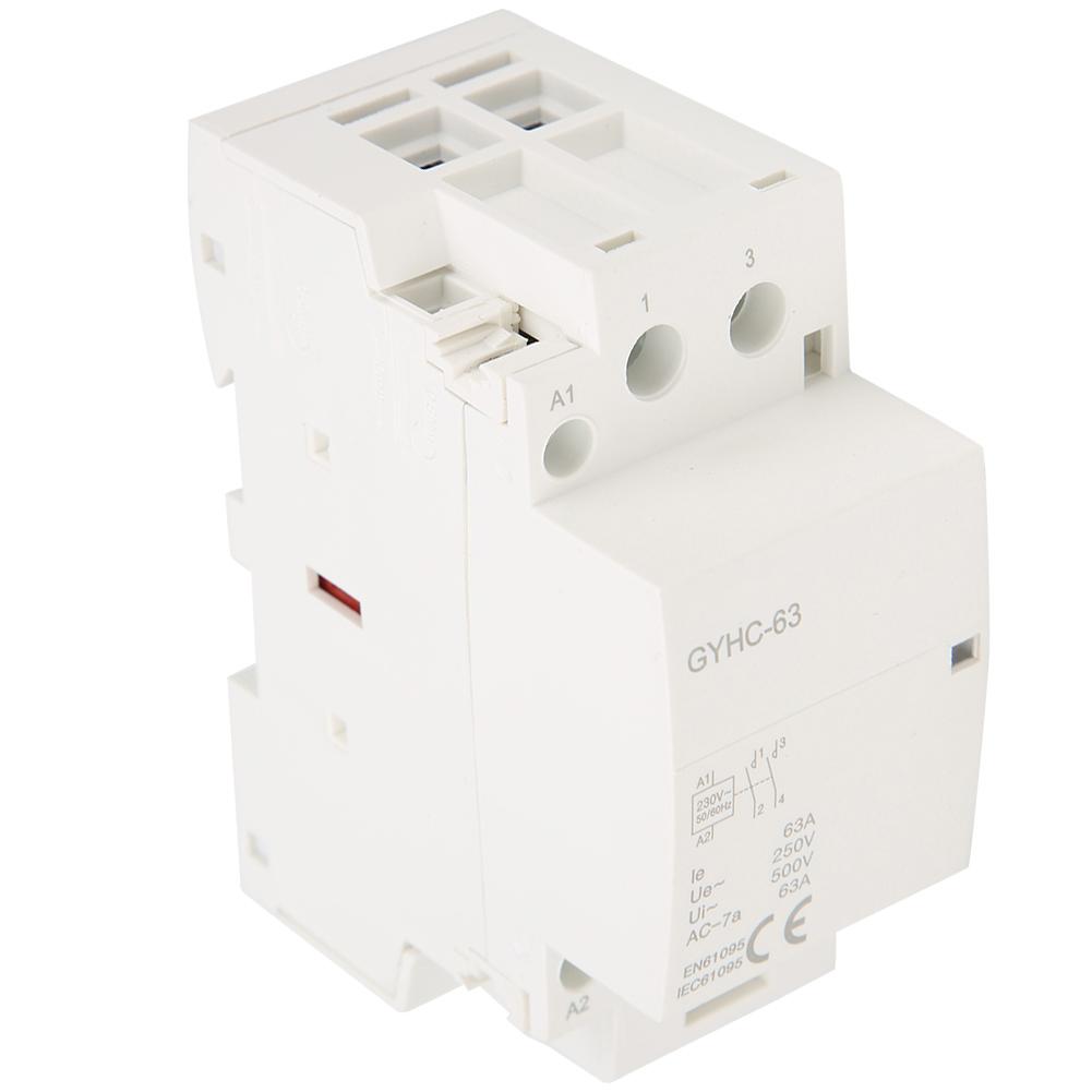 GEYA Manual Control Household Contactor 2P 63A 2NO//2NC 220V AC Modular Contactor