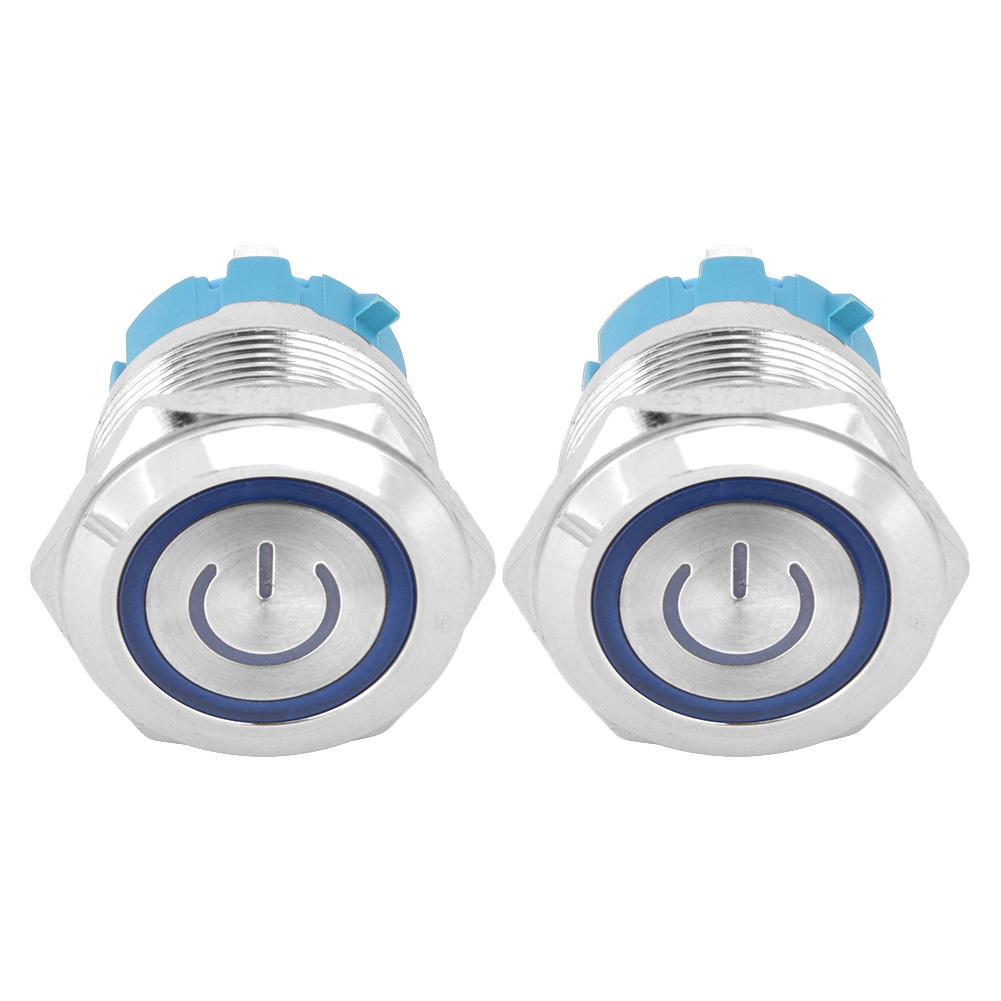 2stk Edelstahl Drucktaster Druck Schalter Taster Wasserdicht IP65 AC220V 22mm DE