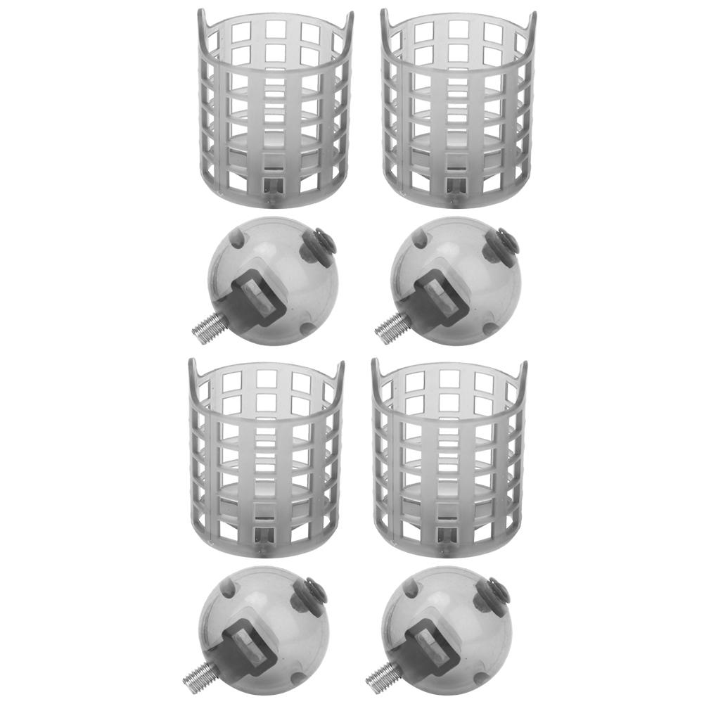 4 pcs Fishing Bait Feeder Bait Cage Carp Bait Trap Cage Inline Method Feeder