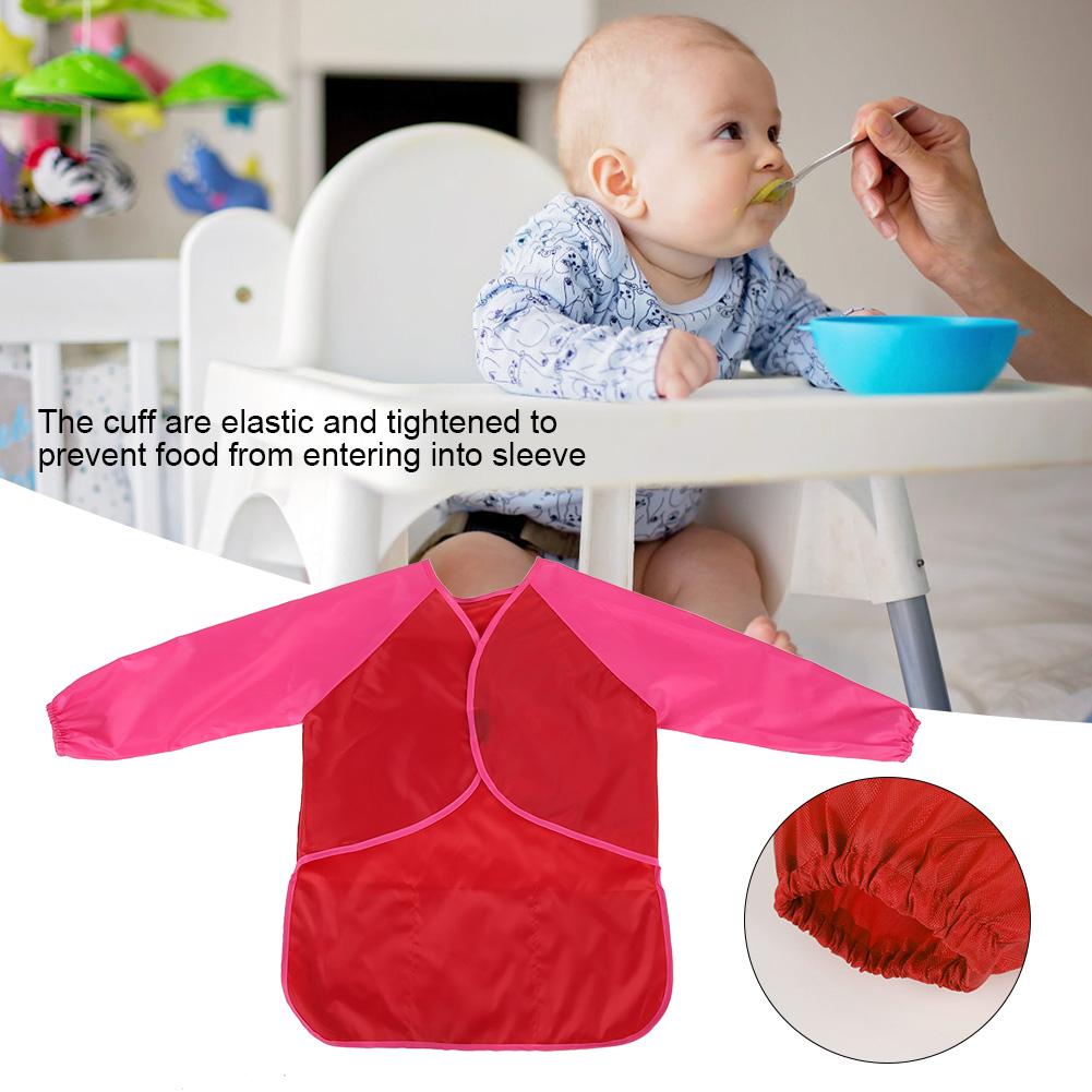 Long Sleeve Baby Lunch Eating Bibs Infant Toddler Waterproof Smock Bib Apron