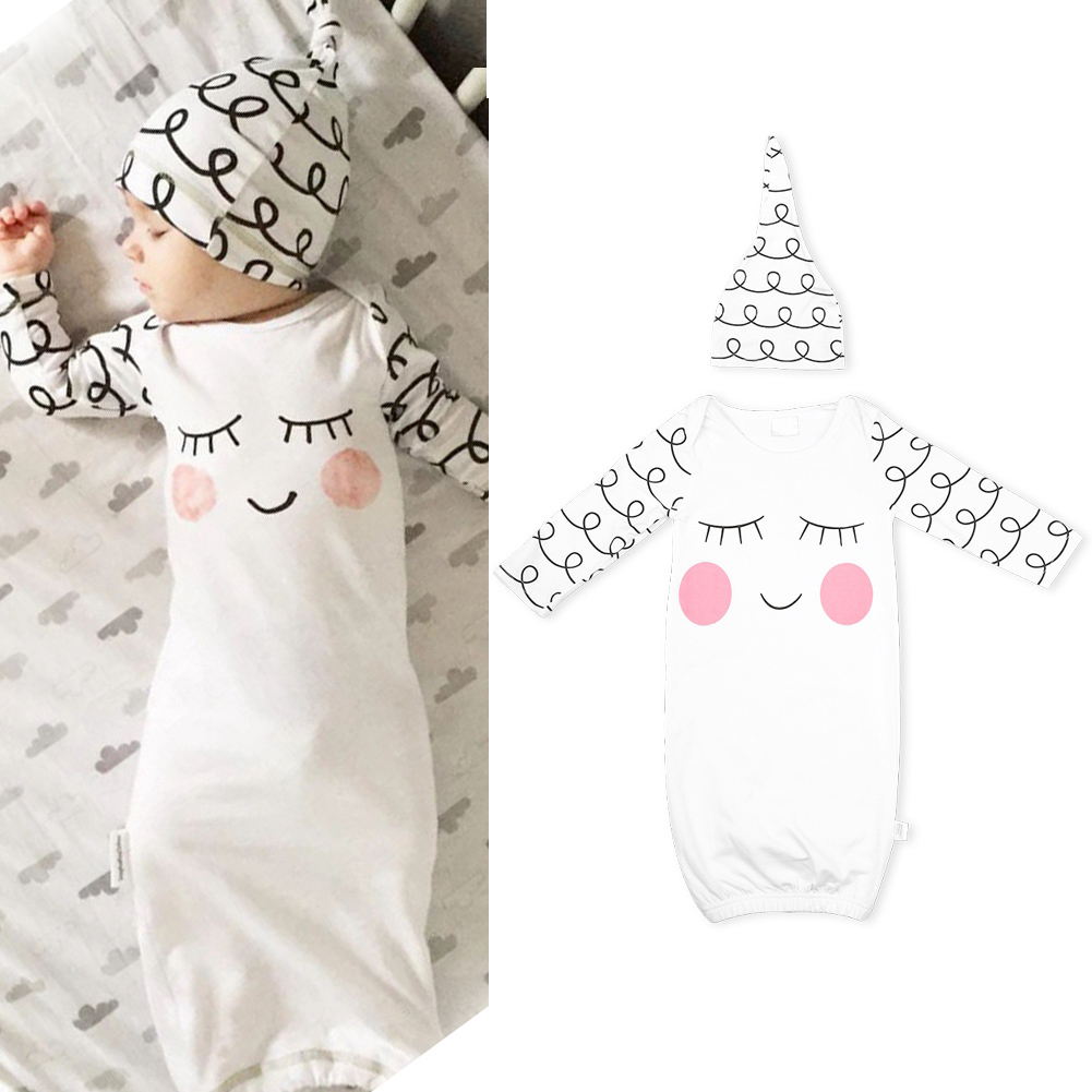 Stylish Simple Baby Cotton Blend Cute Jumpsuit Gown Long Sleeve Jumpsuit with Ha