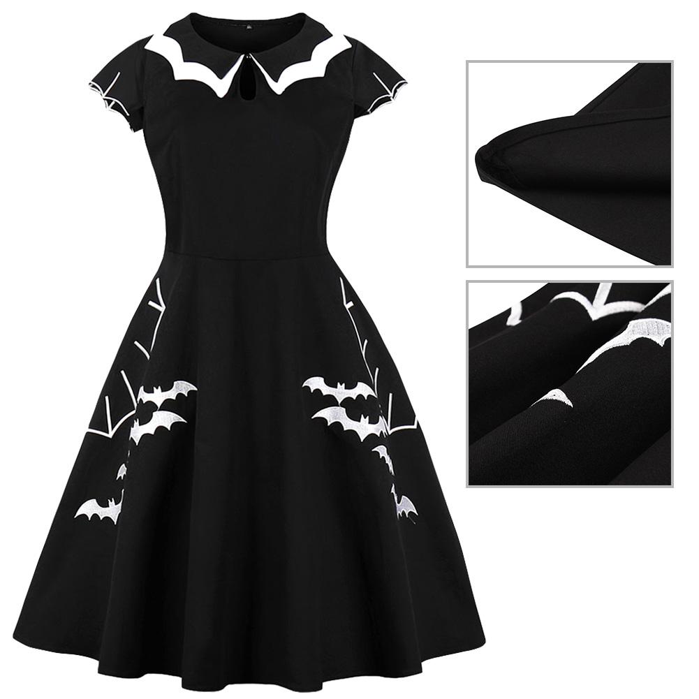 Women/'s Bat Net Embroidery Vintage Swing Dress Lady Bat Sleeve Black Dress