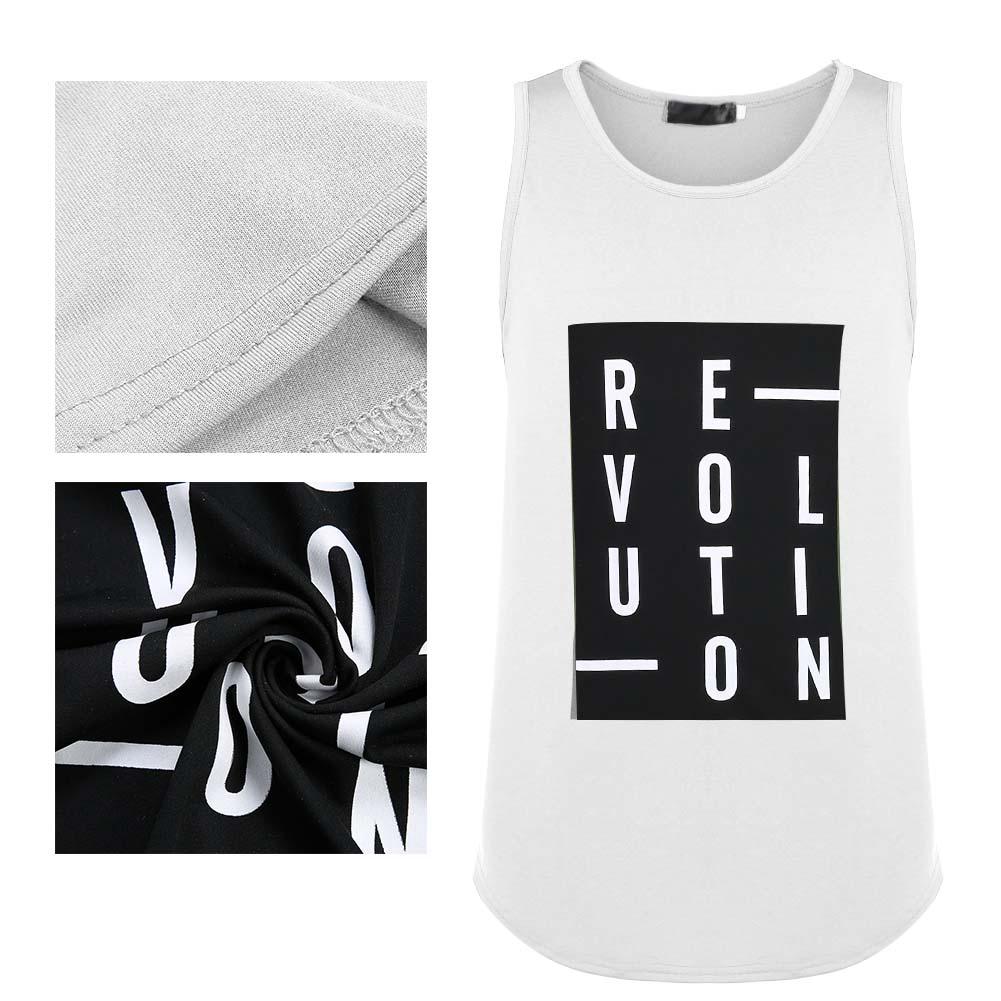 Men Summer Vest Tank Tops Shirt Letter Print Sleeveless Breathable Casual Vest