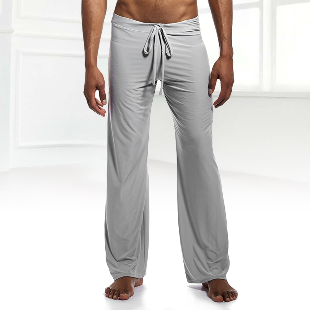 Men Cool Ice Silk Gym Yoga Long Trousers Home Pajama Pants Lace Up Loose Pants