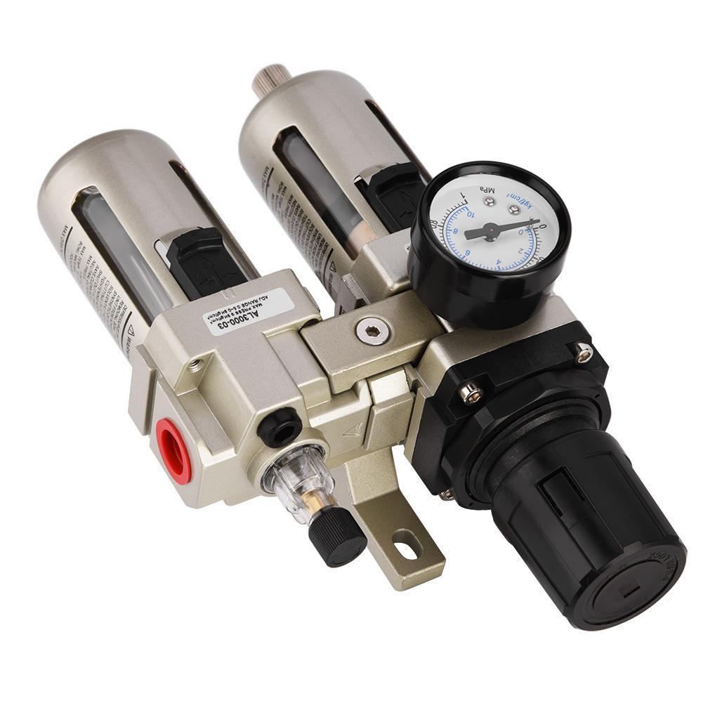 "3//8/"" Air Compressor Filter Oil Water Separator Moisture Trap w//Regulator Gauge"