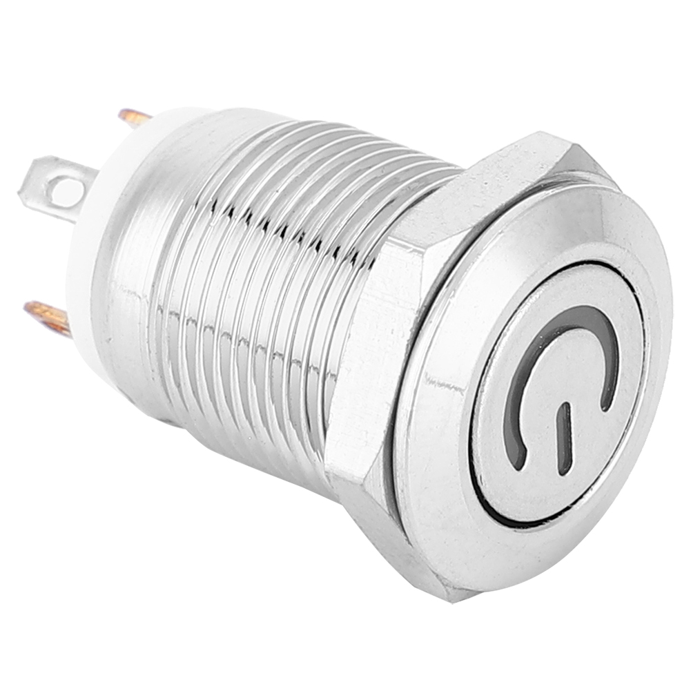 12mm Metal Button Switch with Power Icon White LED Light Self-Reset 1 NO Switch