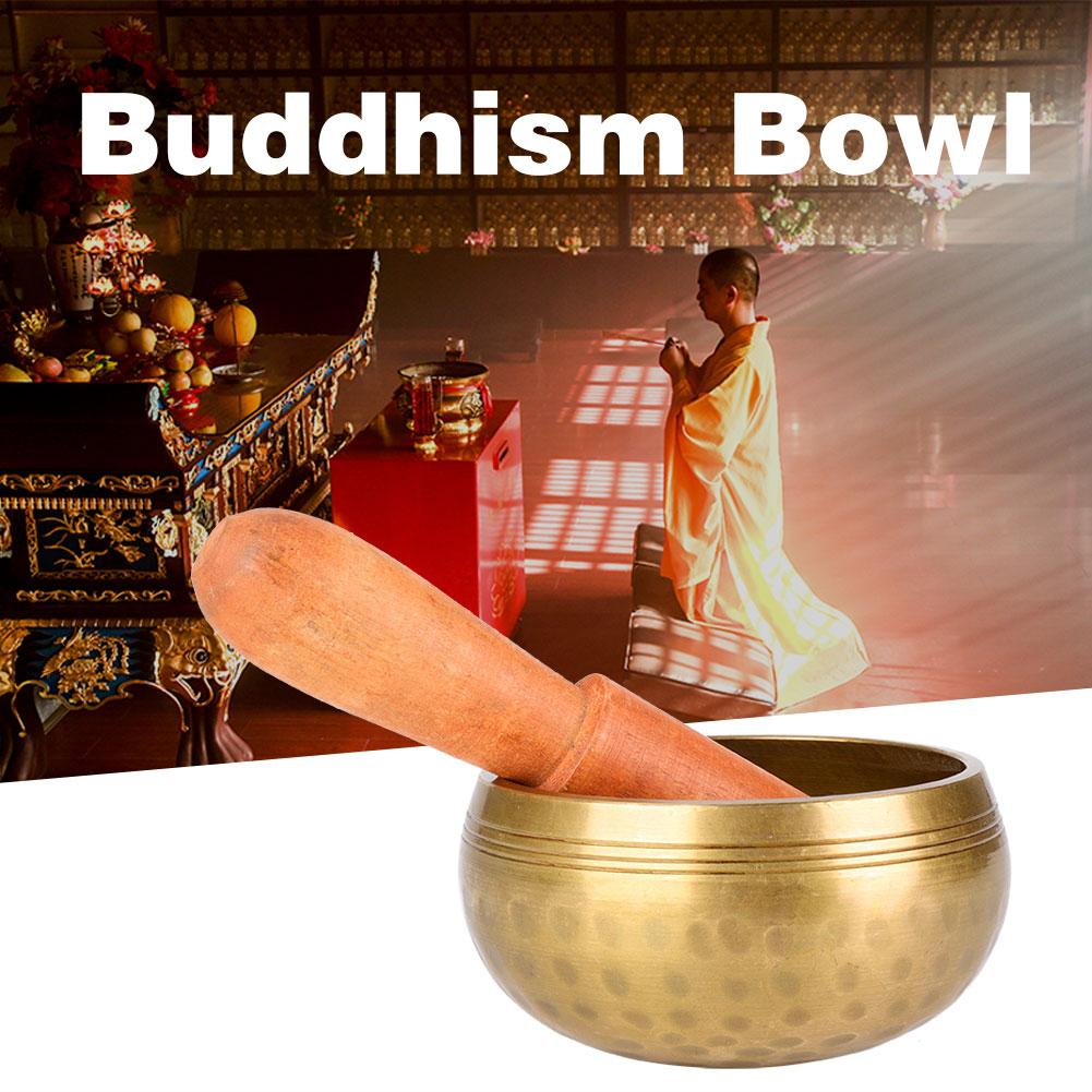 Tibetisch Buddhismus gehämmert Yoga Kupfer Meditation Klangschale Set Klöppel dy