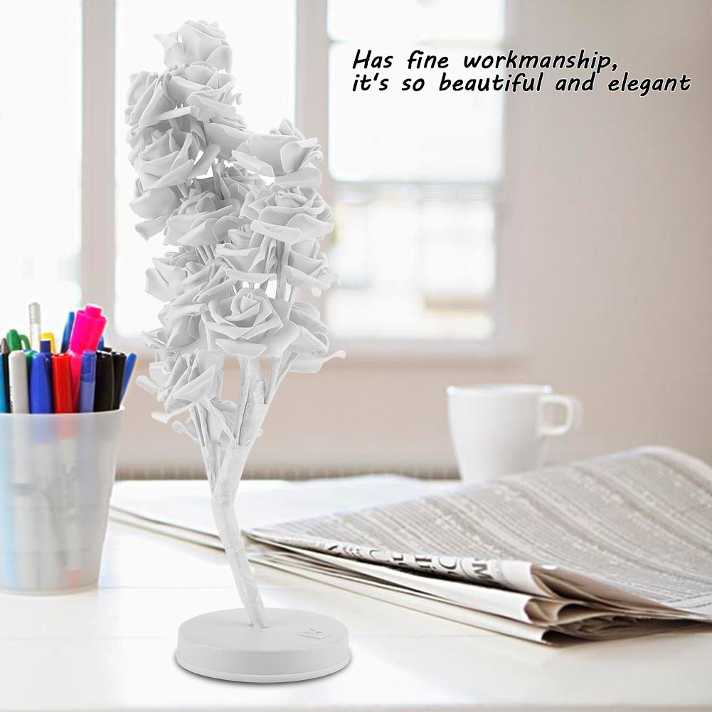 24 LED Rose Flower Desk Light Table Bedside Lamp Warm White Bedroom Decor Gift