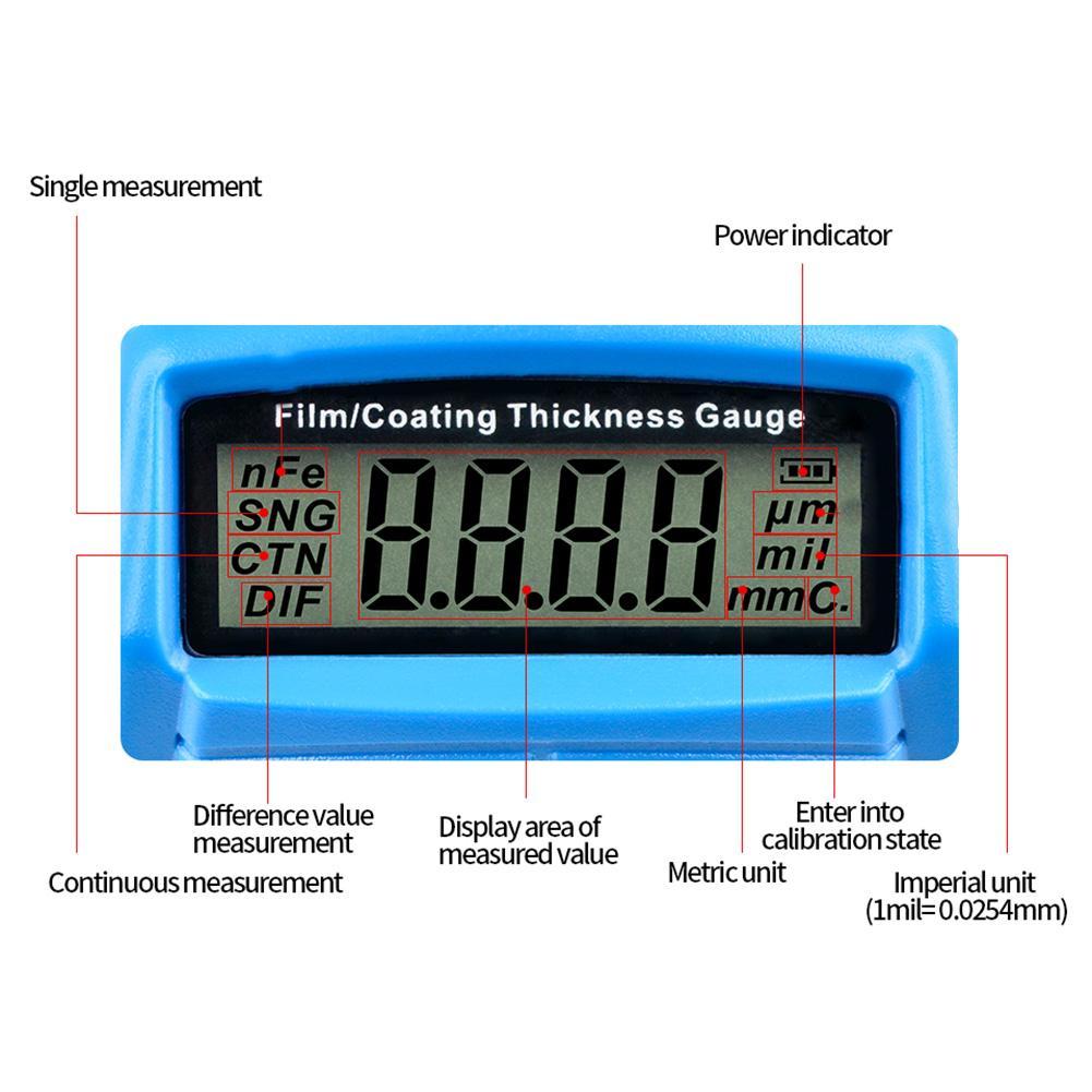 Mini LCD Digital Schichtdickenmessgerät Autolack Lackschichtenmesser Lacktester