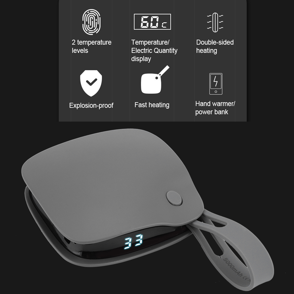 5000mAH Mini Portable Explosion-proof USB Rechargeable Hand Warmer Power Bank