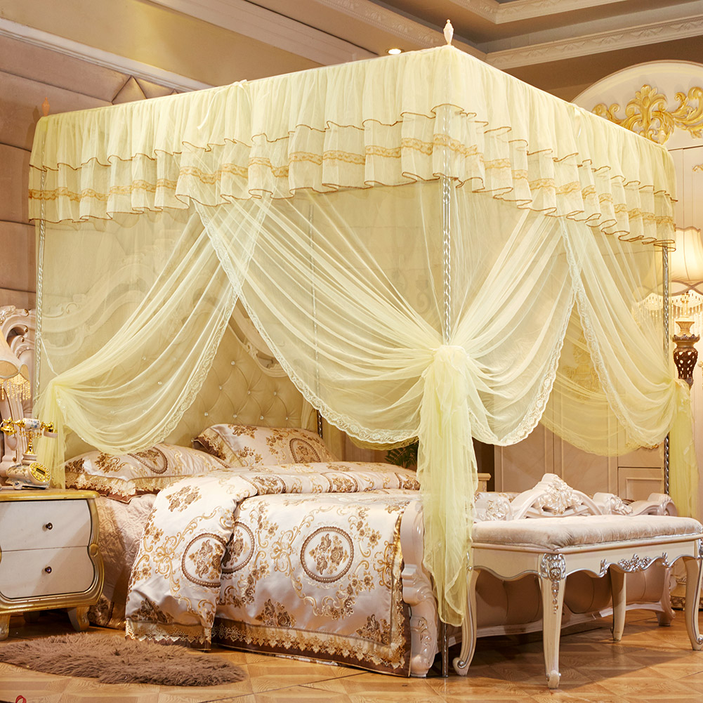Luxury Princess Four Corner Post Bed Curtain Canopy Netting Mosquito Net Bedding