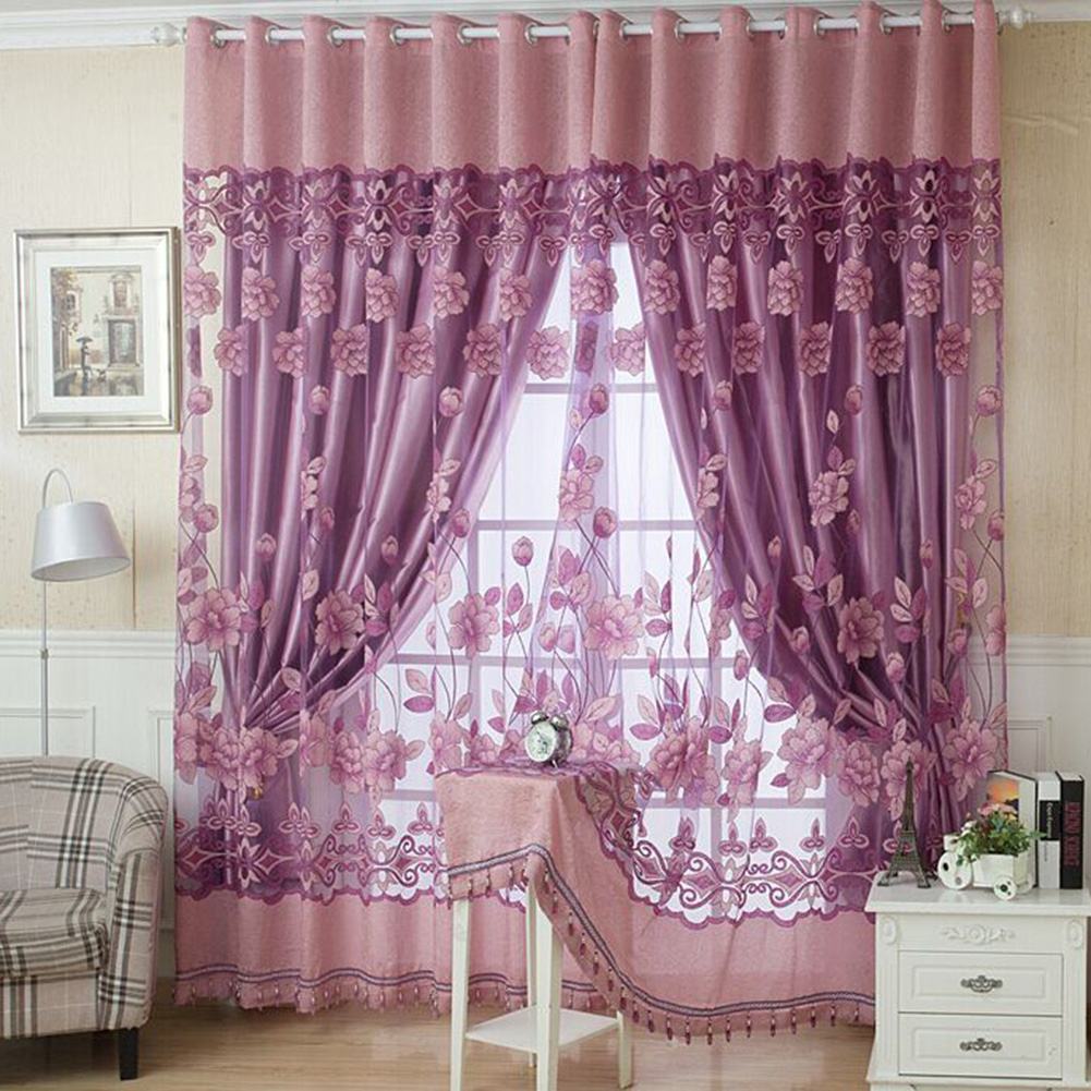 Polyester Curtains Blackout Drape For Living Room Window Decor 100*250CM 3Colors