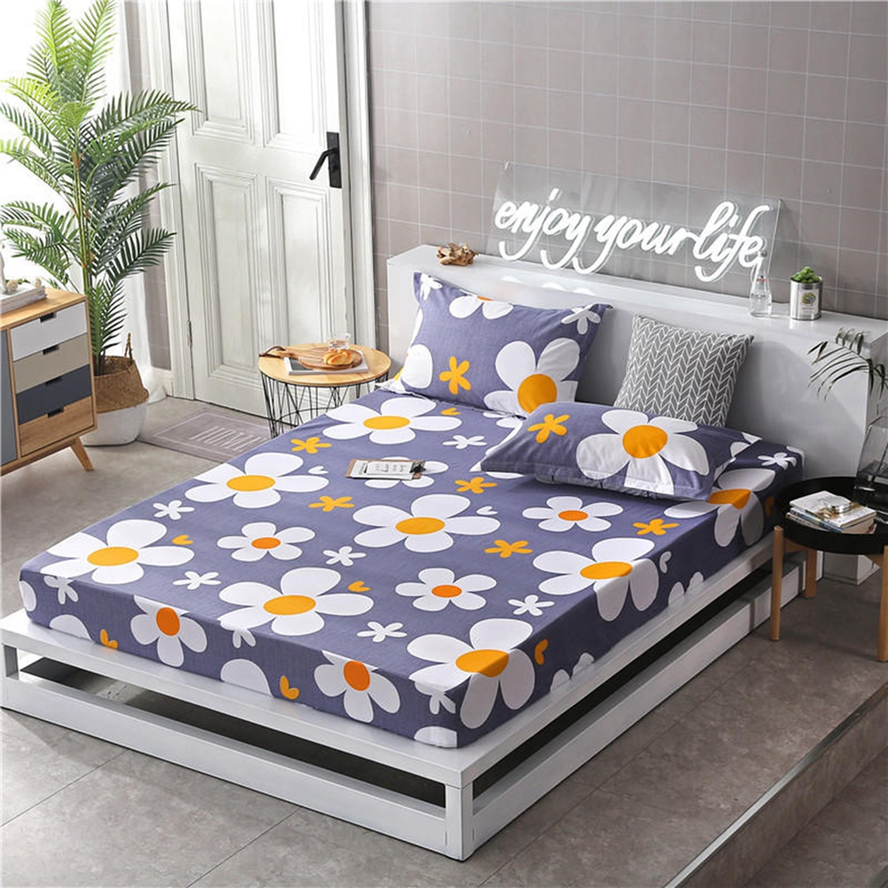 Bedding Set Polyester Pillow Case Fitted Sheet Multi-Pattern Printed Bed Covers