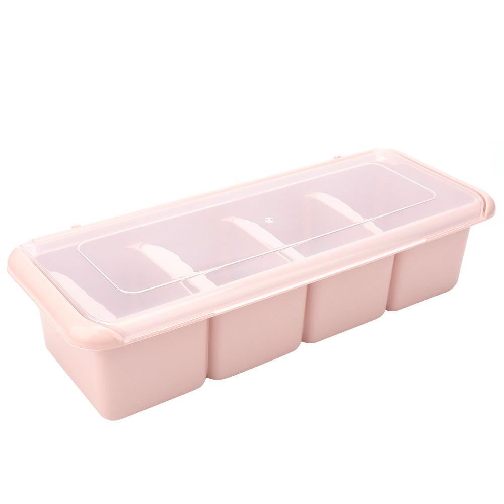 4 Grid Seasoning Box Set Spice Condiment Sugar Salt Storage Container Case