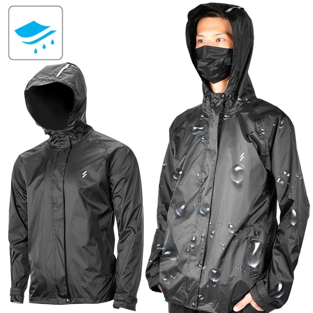 Black Nylon Unisex Reflective Bicycle Cycling Waterproof Coat Bike Raincoat Hood