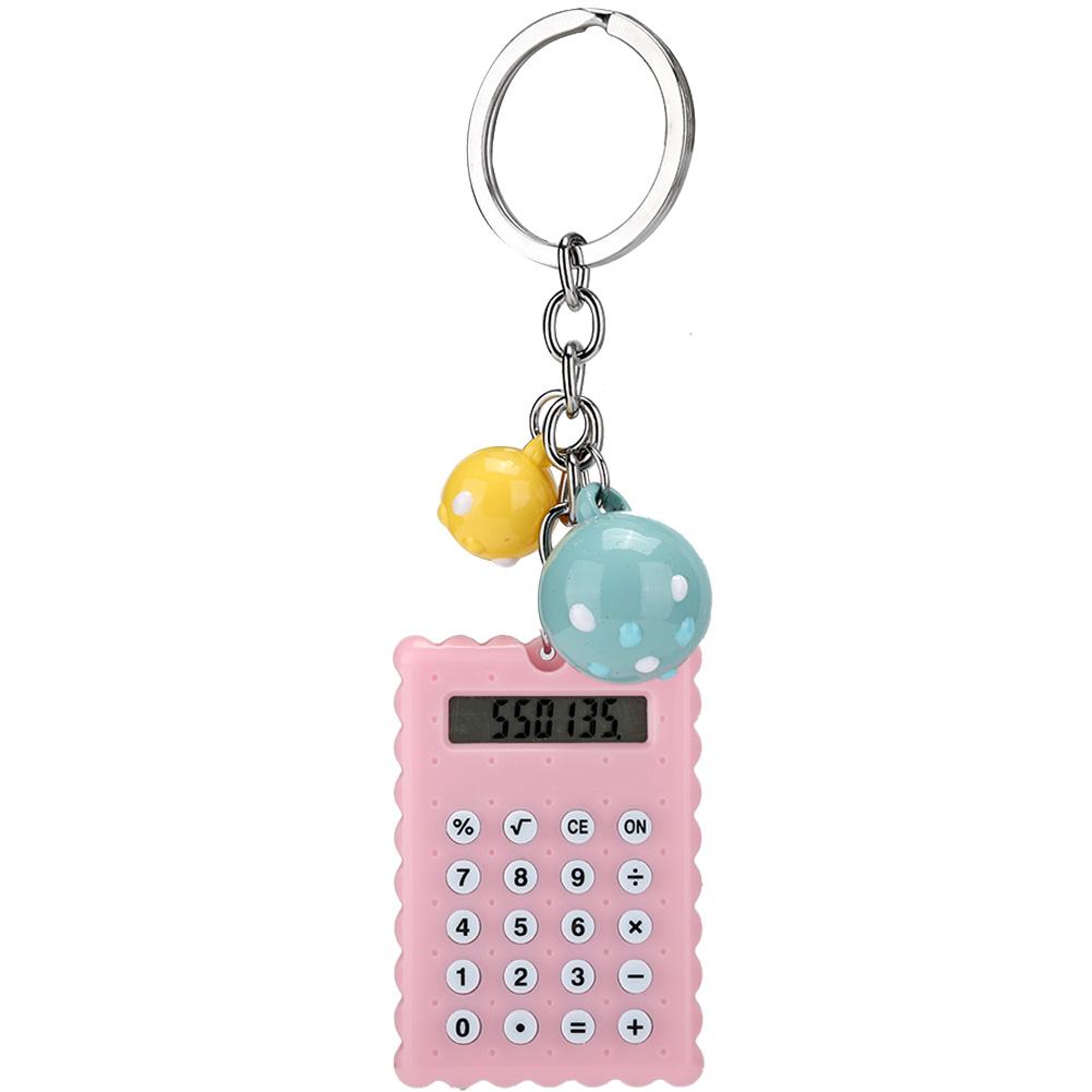 2X 8 Digits Mini Electronic Calculator Pocket Portable Keychain Keyring Ring PVC