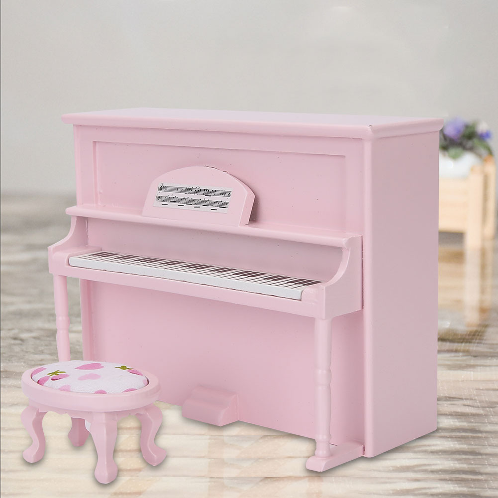1:12 Doll House Simulation Furniture Accessory Mini Upright Piano Toy with Stool
