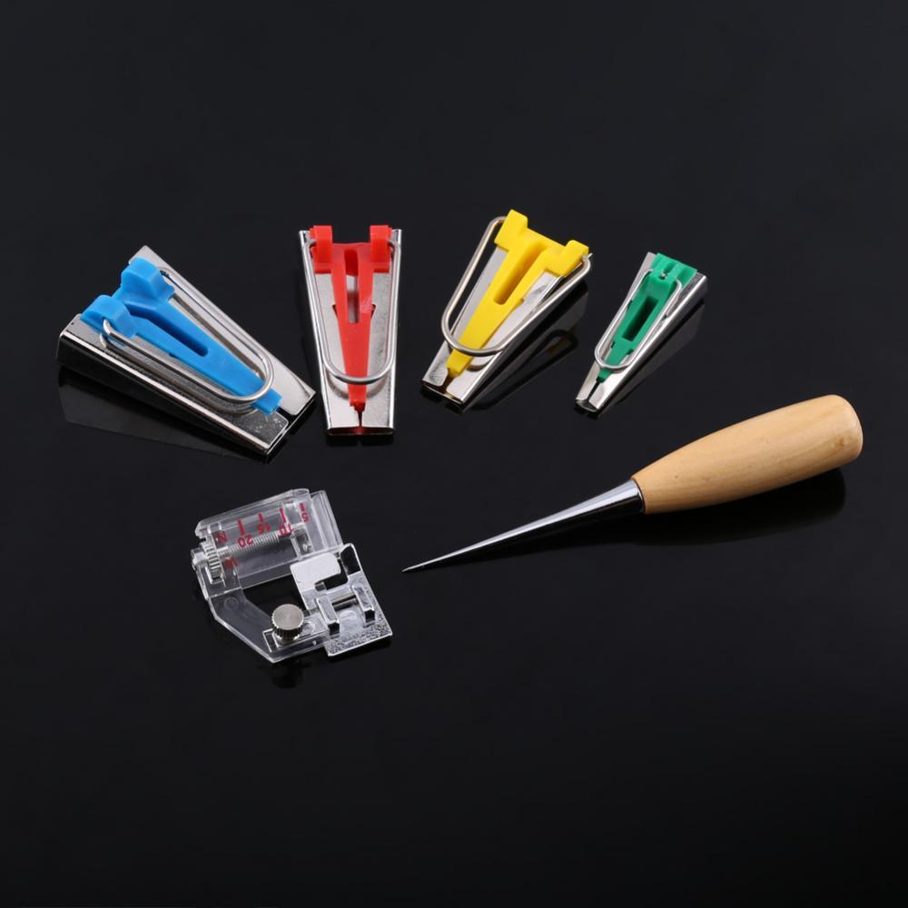 6pcs 6//12//18//25mm Outil à biais appareil couture outil Quilting Sewing Kit