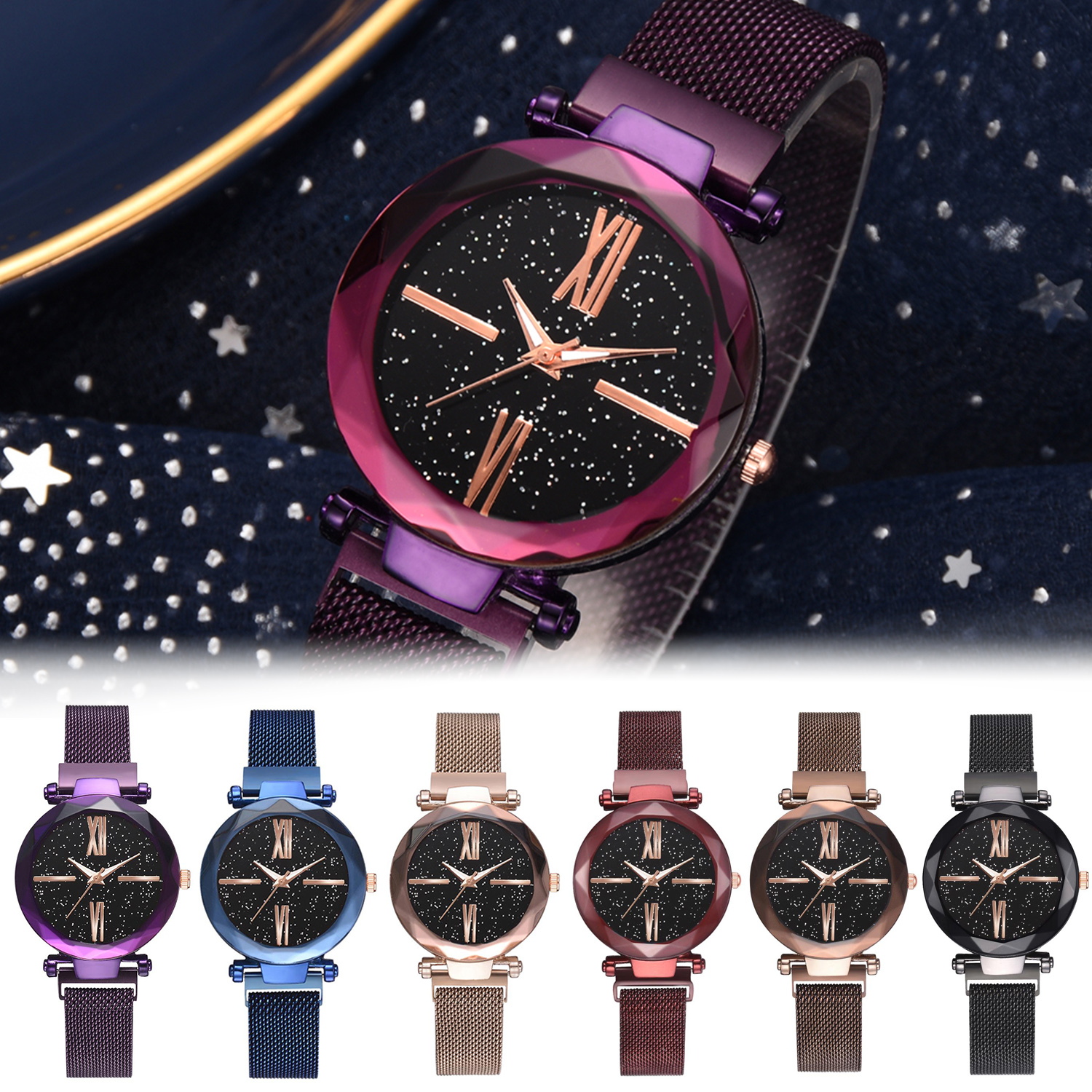 Starry-Sky-Masonry-Women-Roman-Watch-Magnet-Strap-Buckle-Stainless-Steel-Watches