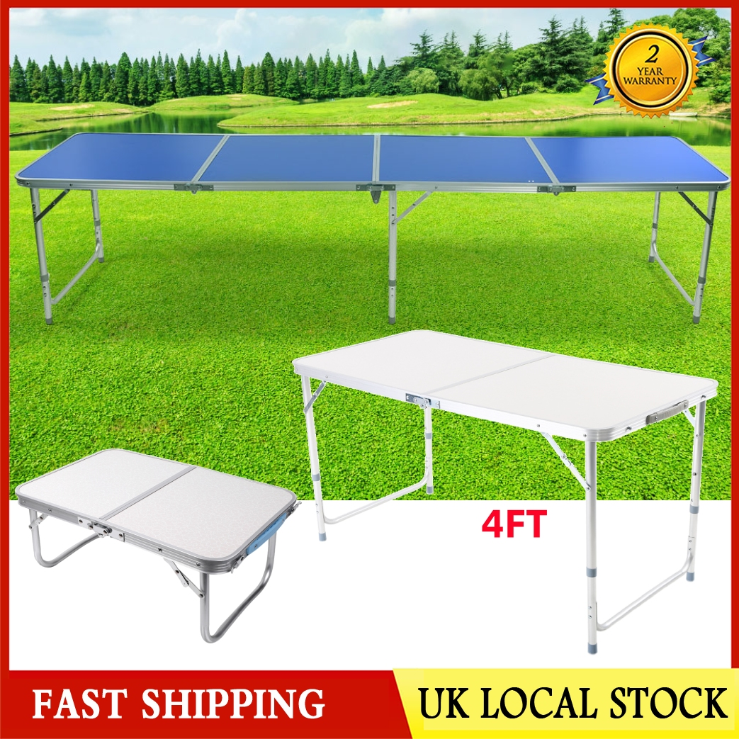 Aluminum 2FT//4FT//8FT Roll Up Table Folding Camping Outdoor Indoor Picnic BBQ