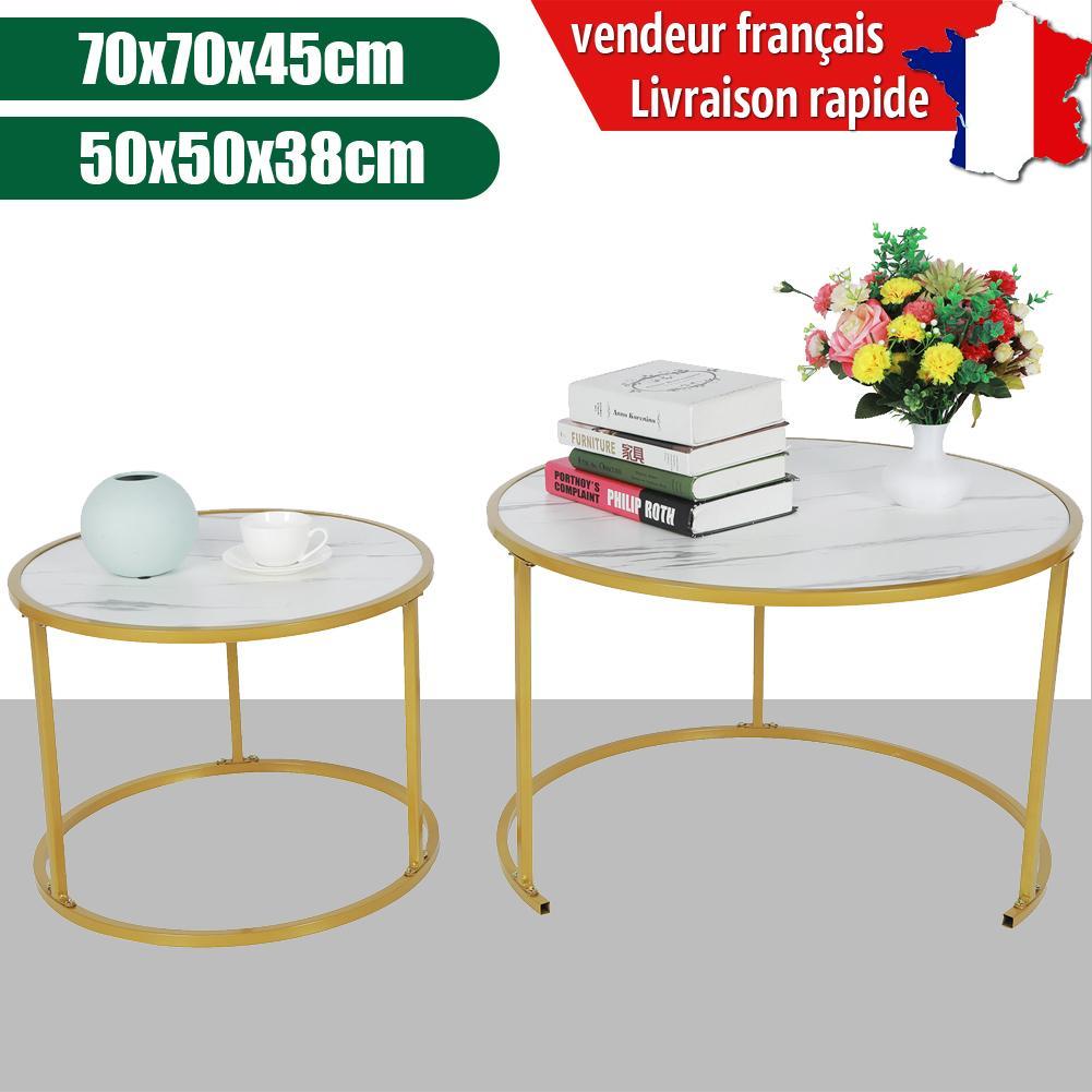 Lot de 2 Table de Salon Ronde Mate Table gigogne, Table Basse,Table d'appoint