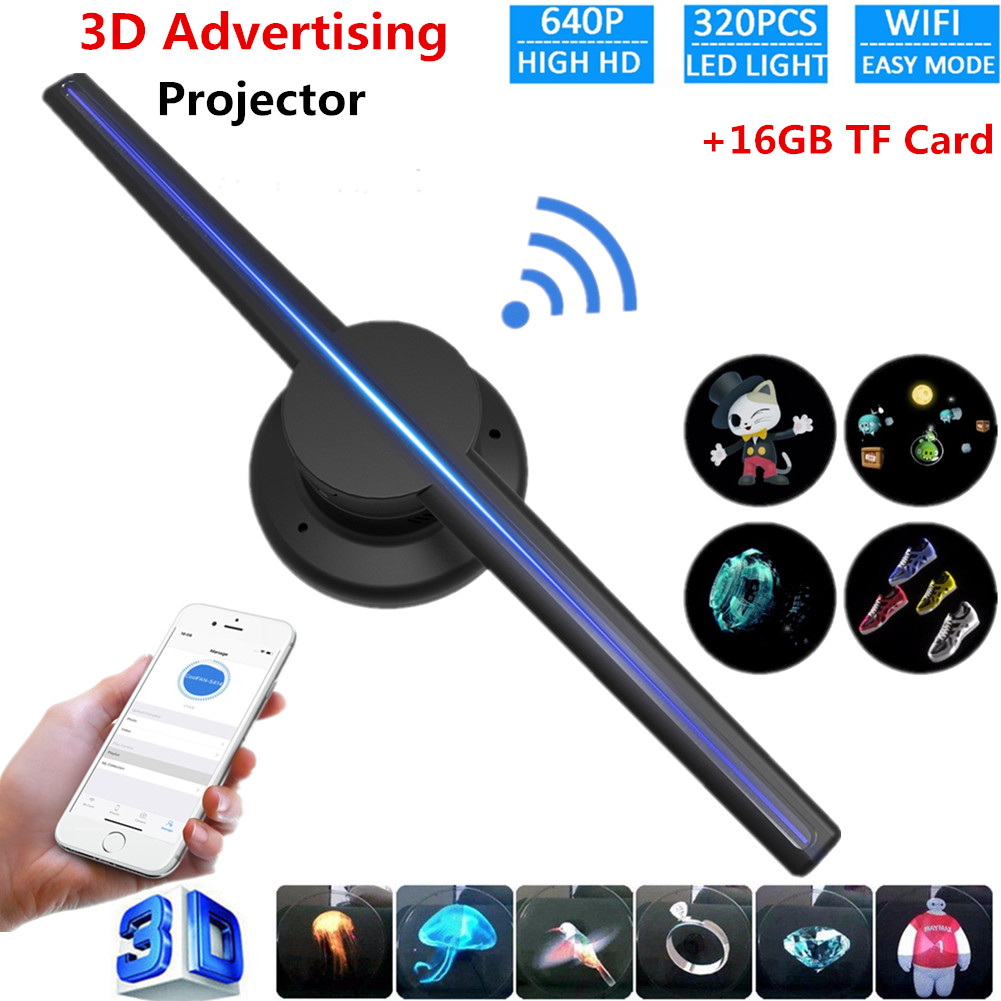 42cm 224 LED 3D Hologram Projector Holographic Advertising Display Player Fan