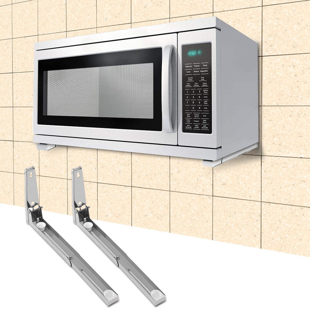 Microwave Oven Top Mount: Stainless Steel Microwave Oven Bracket Sturdy Foldable