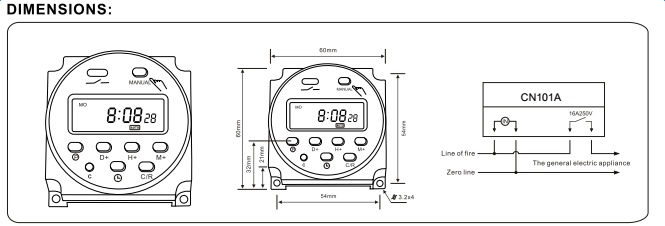 cn101a 16a lcd digital programmable control power timer