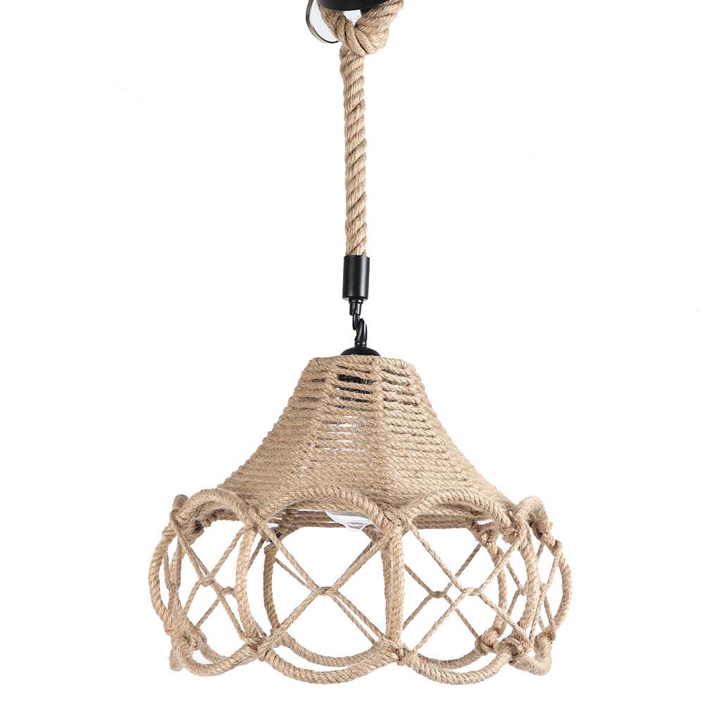 Vintage-Hemp-Rope-Ceiling-Lamp-E27-Iron-Art-Pendant-Light-Chandelier-Bar-Coffee miniature 15