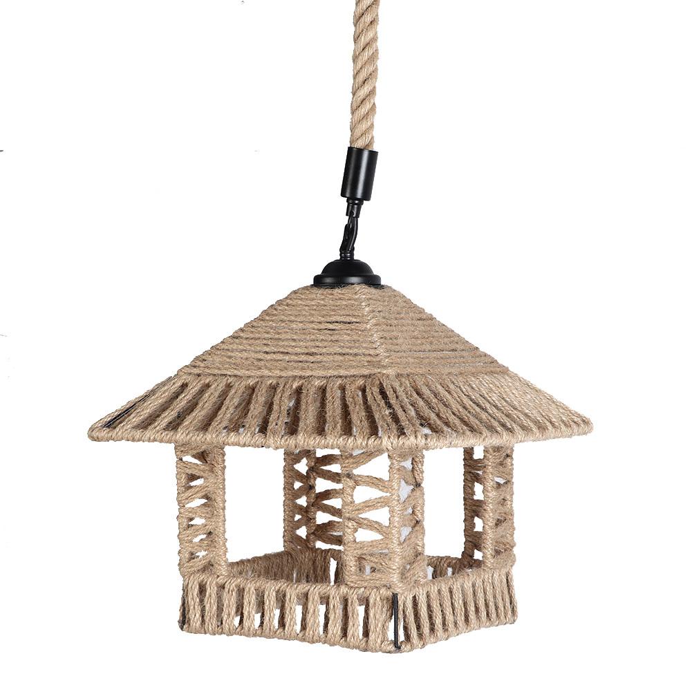 Vintage-Hemp-Rope-Ceiling-Lamp-E27-Iron-Art-Pendant-Light-Chandelier-Bar-Coffee miniature 17