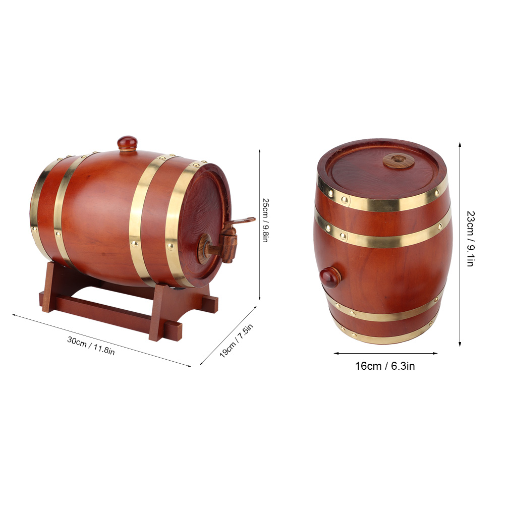1-3L-Household-Mini-Wood-Whiskey-Barrel-Wine-Keg-Wooden-Wine-Brewing-Equipments thumbnail 28