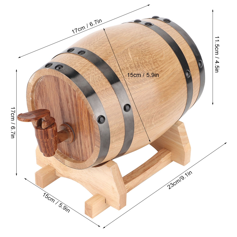 1-3L-Household-Mini-Wood-Whiskey-Barrel-Wine-Keg-Wooden-Wine-Brewing-Equipments thumbnail 16