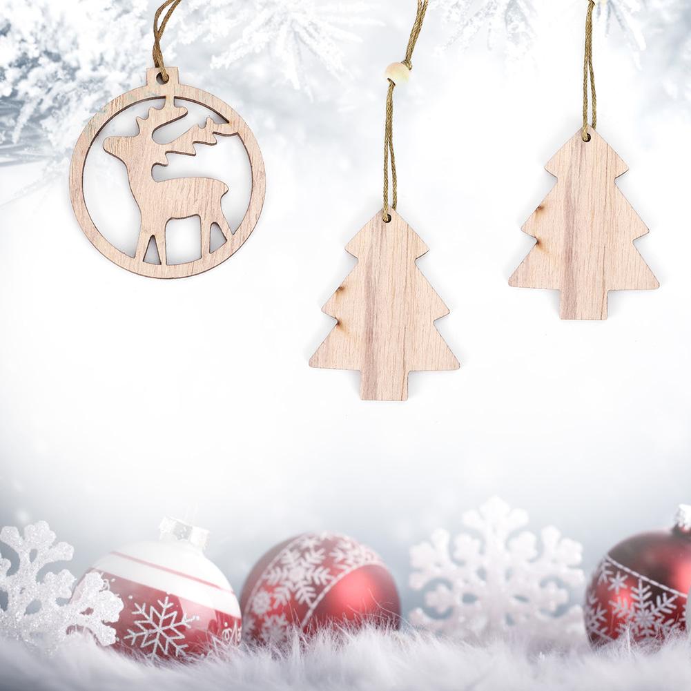 Christmas-Decorations-Tree-Ornament-Xmas-Hanging-Accessories-Wooden-DIY-Pendant thumbnail 136