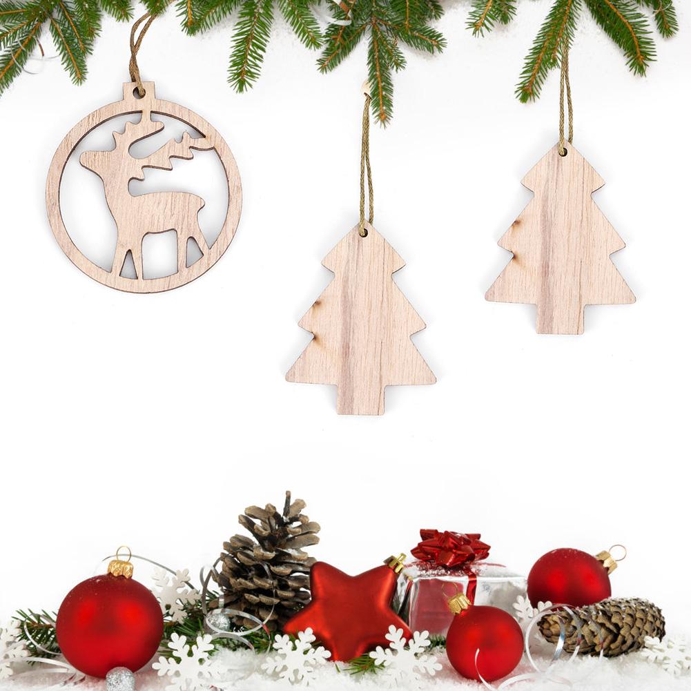 Christmas-Decorations-Tree-Ornament-Xmas-Hanging-Accessories-Wooden-DIY-Pendant thumbnail 137